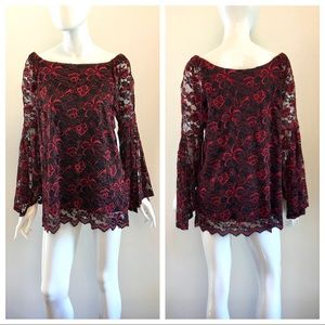 Relativity Tops - Lace Red and Black Long Sleeve Bell Sleeve Top